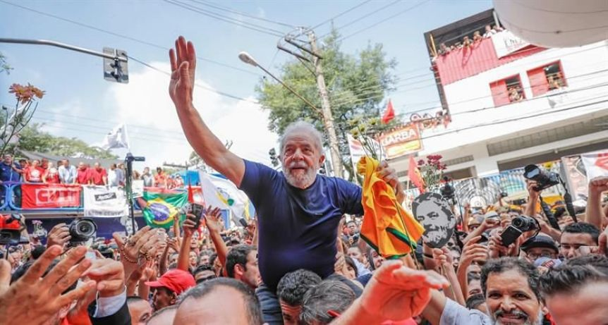 Festejos de Alberto, Cristina y Kicillof por la liberaci�n de Lula en Brasil